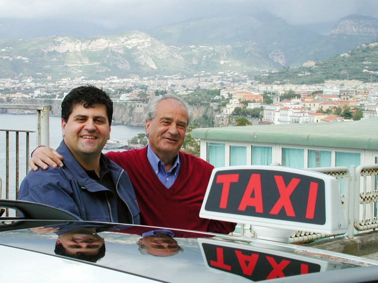 Taxi drivers Carmello Monetti and his son Raffaele take people on tours of Italy's Amalfi Coast from Sorrento.